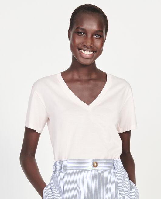 Kurzärmeliges T-Shirt aus Baumwolle mit V-Ausschnitt PRIMROSE PINK