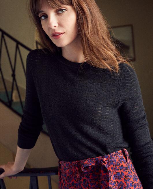 Pullover aus Zierstrick 100% Merinowolle NOIR