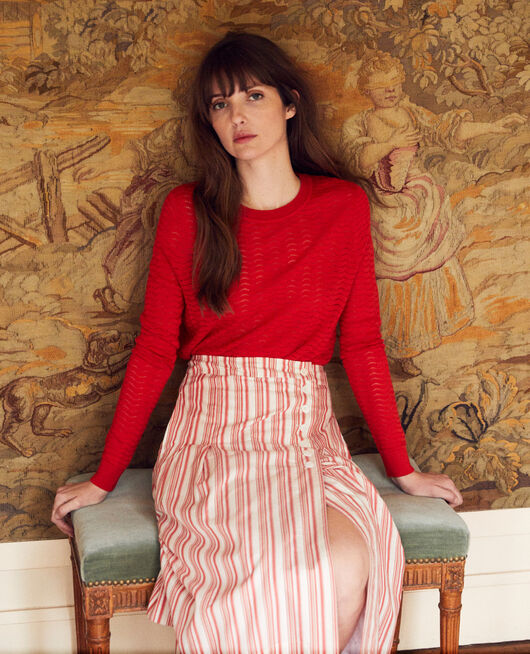 Pullover aus Zierstrick 100% Merinowolle MOLTEN LAVA