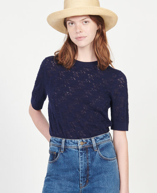 T-Shirt mit Pointelle-Muster MARITIME BLUE