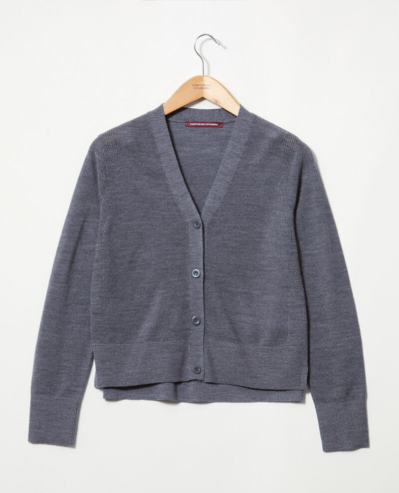Cardigan aus Wolle Dark heather grey 9idada