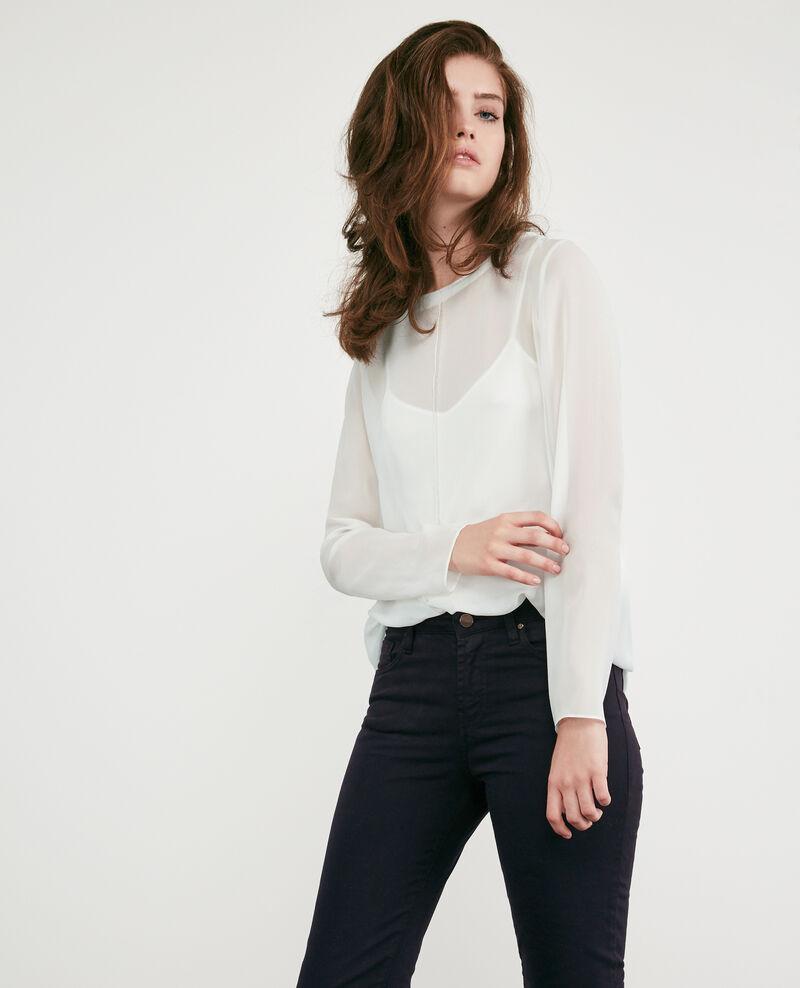 Langärmliges T-Shirt aus Seiden-Voile Off white Dalpestre