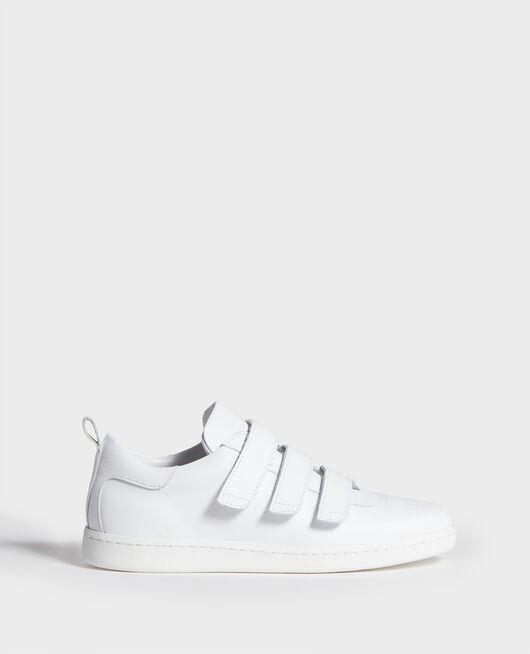 Sneakers aus Leder mit Klettlaschen OPTICAL WHITE
