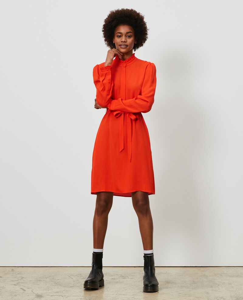 Gerades Kleid mit Rüschenkragen Spicy orange Nepal