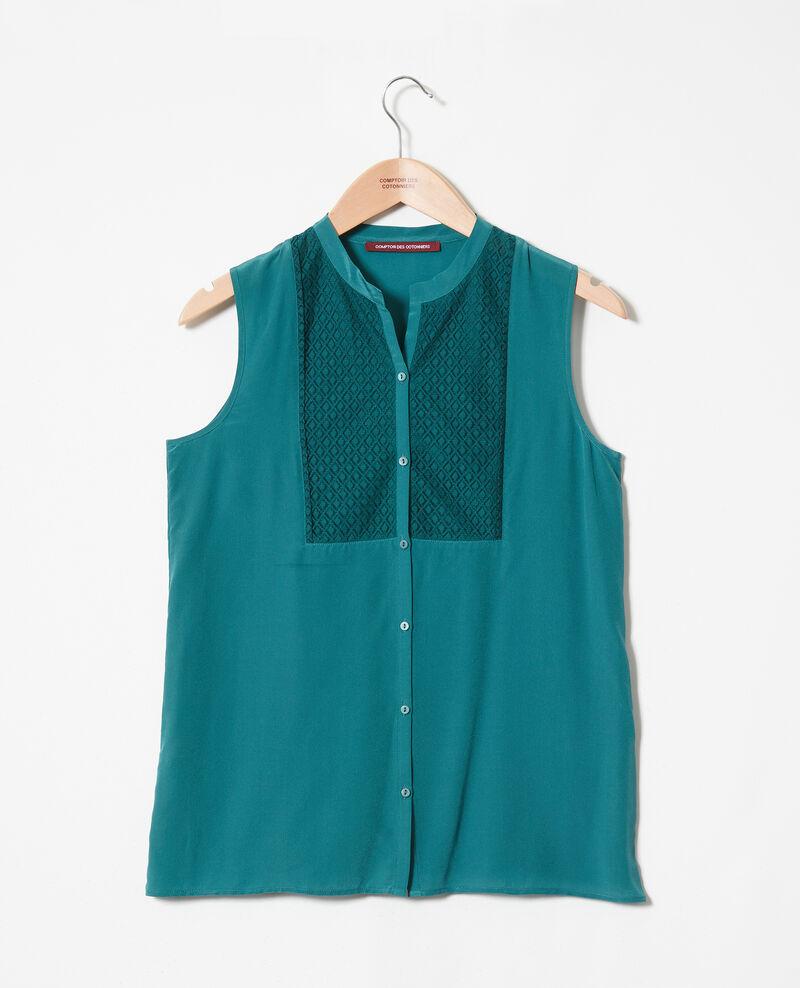 Bluse mit Spitzenplastron aus Seide Mediteranea Jandros
