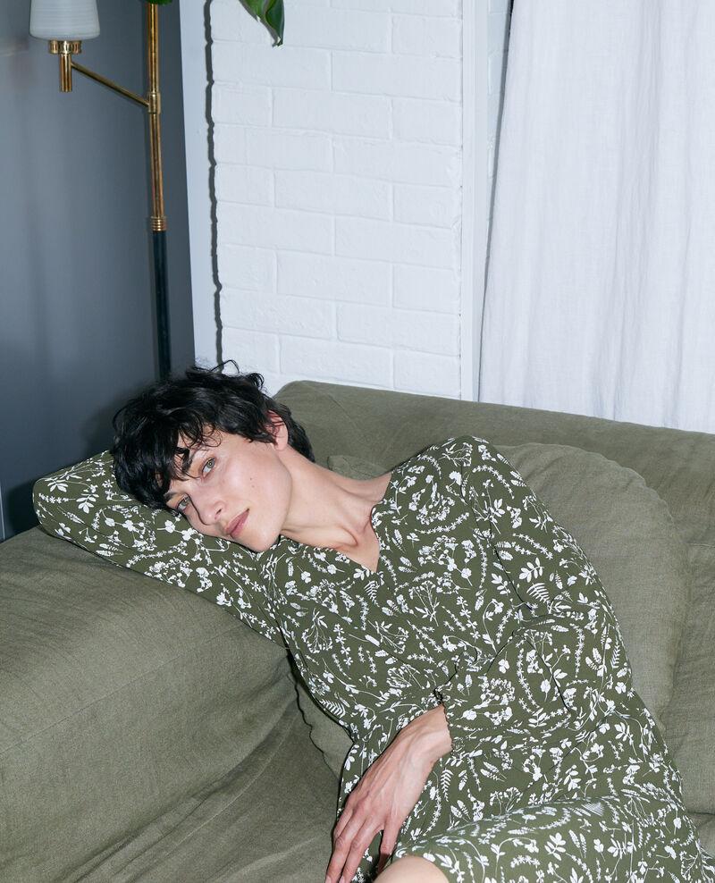 Langes gemustertes Kleid Cyanotype olive Pavish