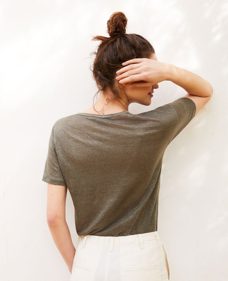 T-shirt effet brillant en lin Military green Imapou