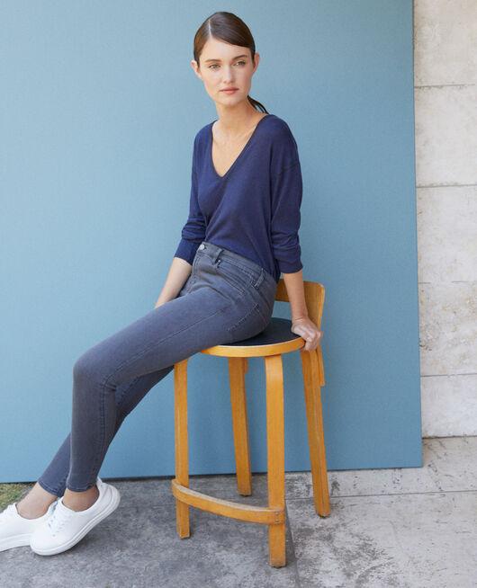 Skinny-Jeans mit 7/8-Cropped-Länge Grau