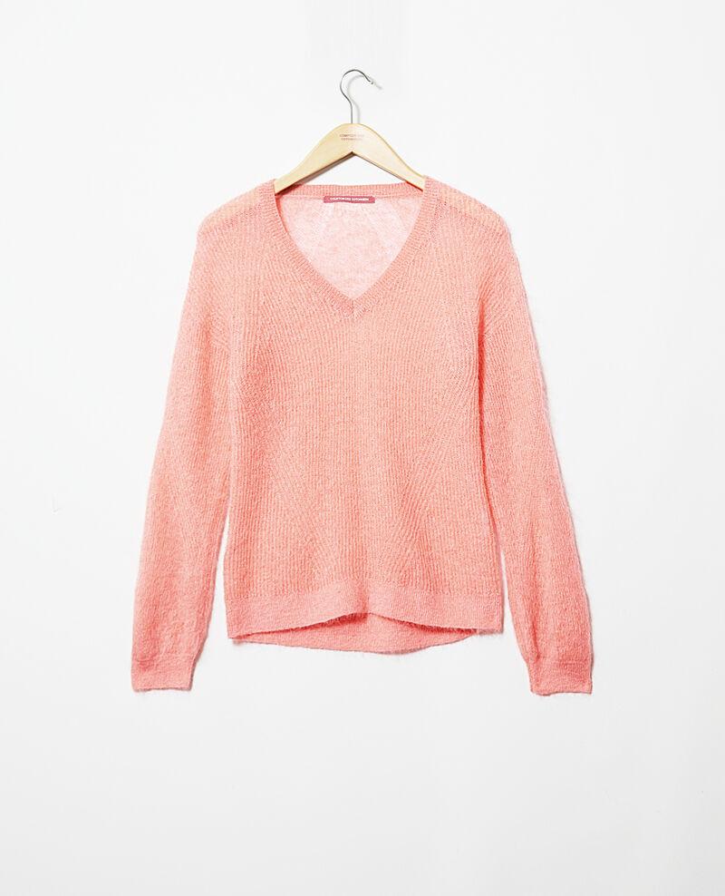 Pullover mit V-Ausschnitt mit Mohair Salmon pink Iceve