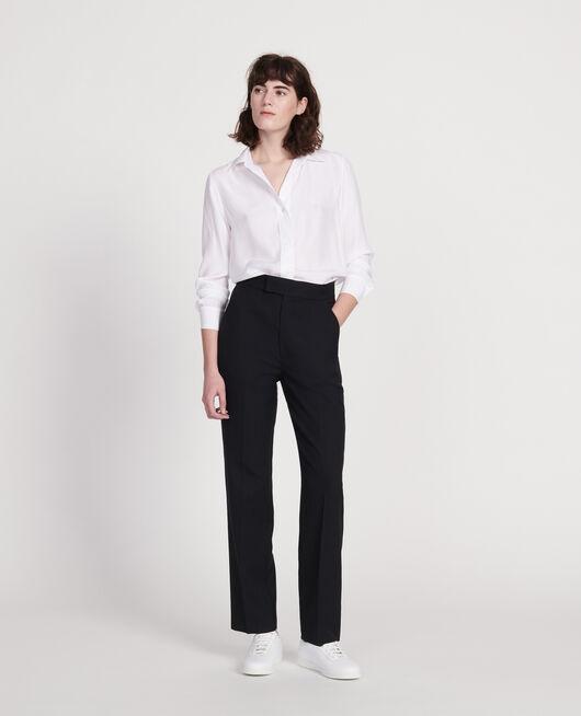 Gerade Hose aus glatter Wolle BLACK BEAUTY