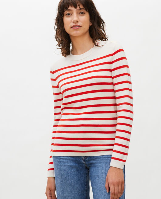 Zeitloser Wollpullover STRIPES FIERY RED GARDENIA