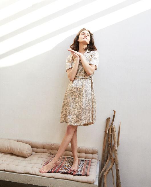 Kleid mit offenem Kragen BANDANA LIGHT BEIGE