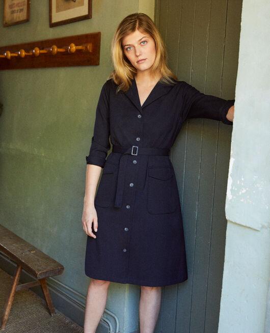 Kleid mit offenem Kragen DARK NAVY