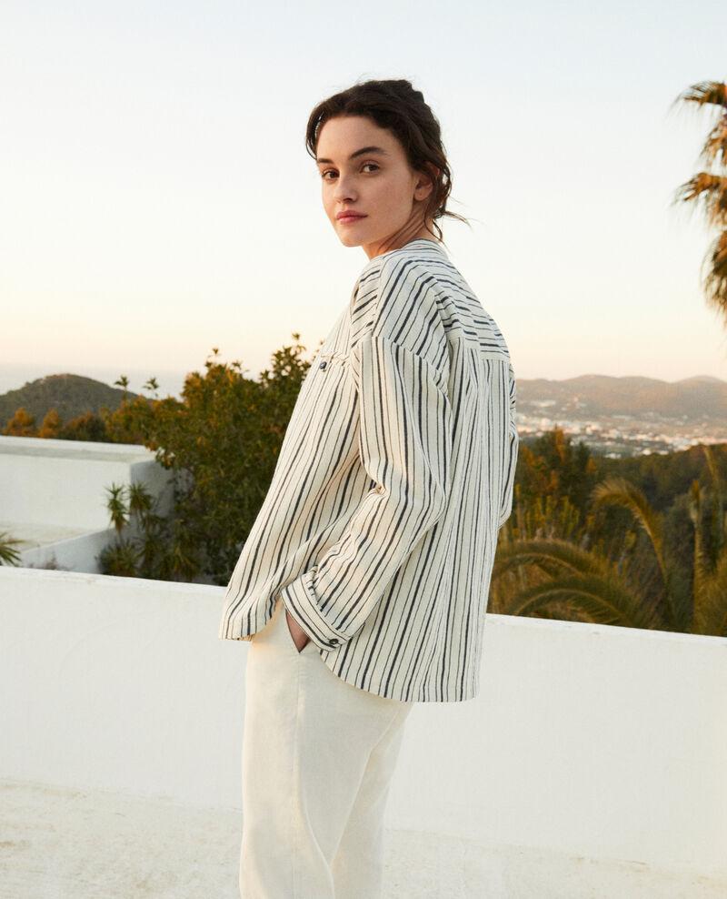 Gestreifte Bluse Off white/navy stripes Francine