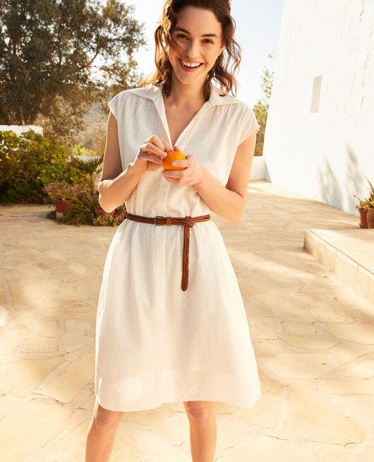 Hemdkleid aus bestickter Baumwolle OFF WHITE