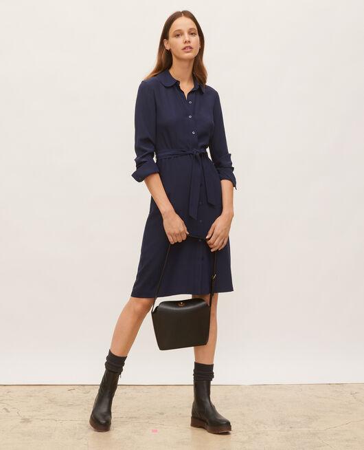 Hemdkleid aus Seide mit Gürtel und Rundkragen MARITIME BLUE