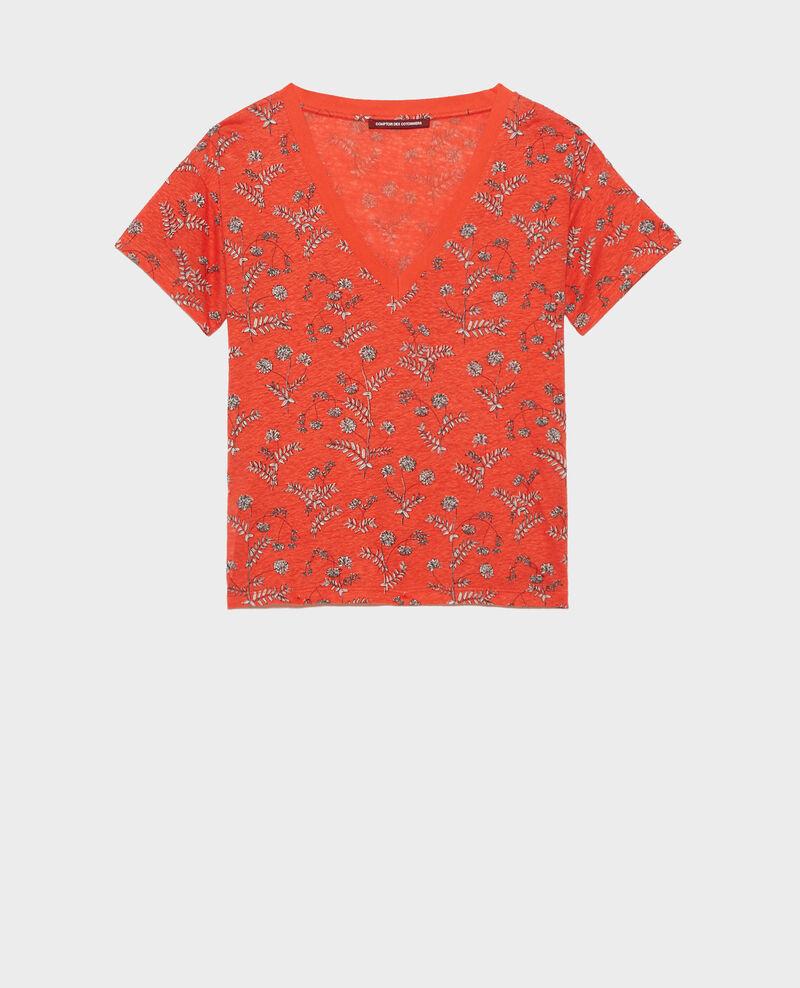 Shirt mit V-Ausschnitt aus Leinen Coronille spicy Nayeli