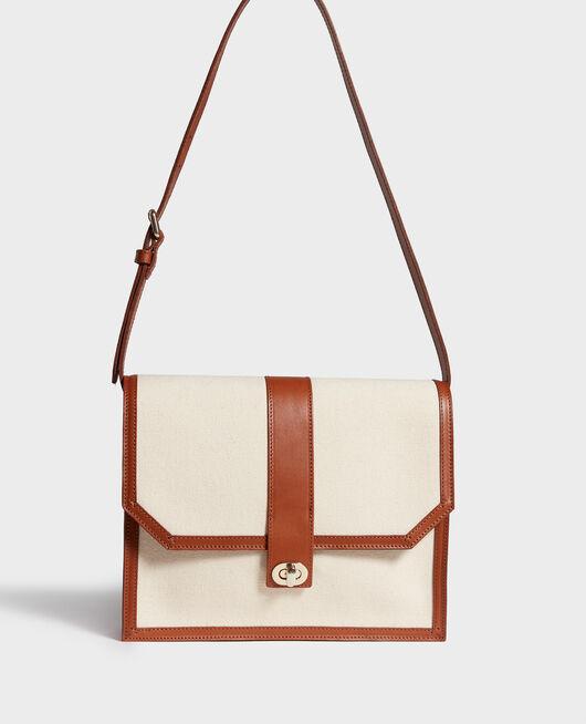 Tasche mit Klappe aus Stoff und Leder GARDENIA CAMEL