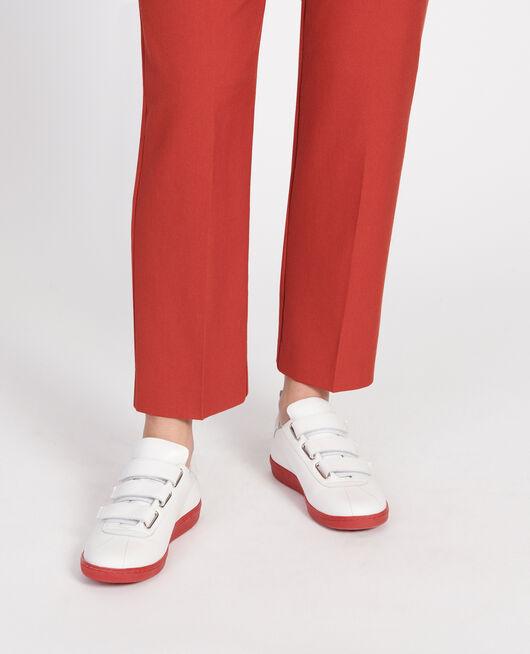 Sneakers aus Leder mit Klettlaschen WHITE FIERY RED