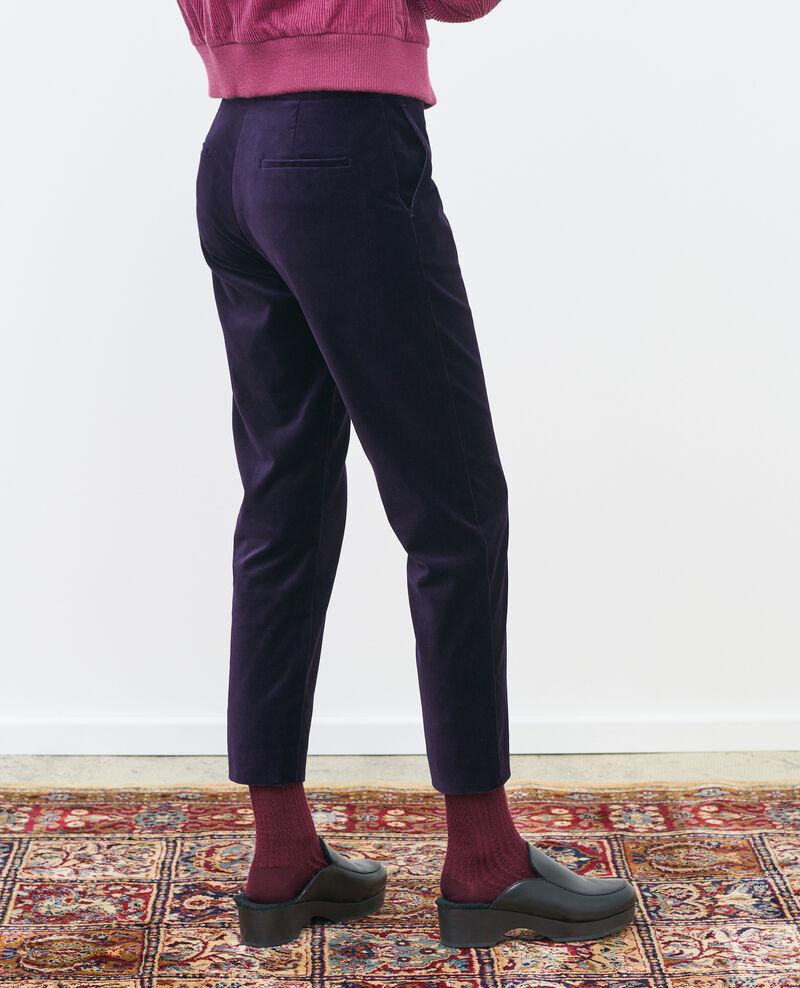 Hose MARGUERITE, 7/8-Länge aus Baumwollsamt Purple Poko
