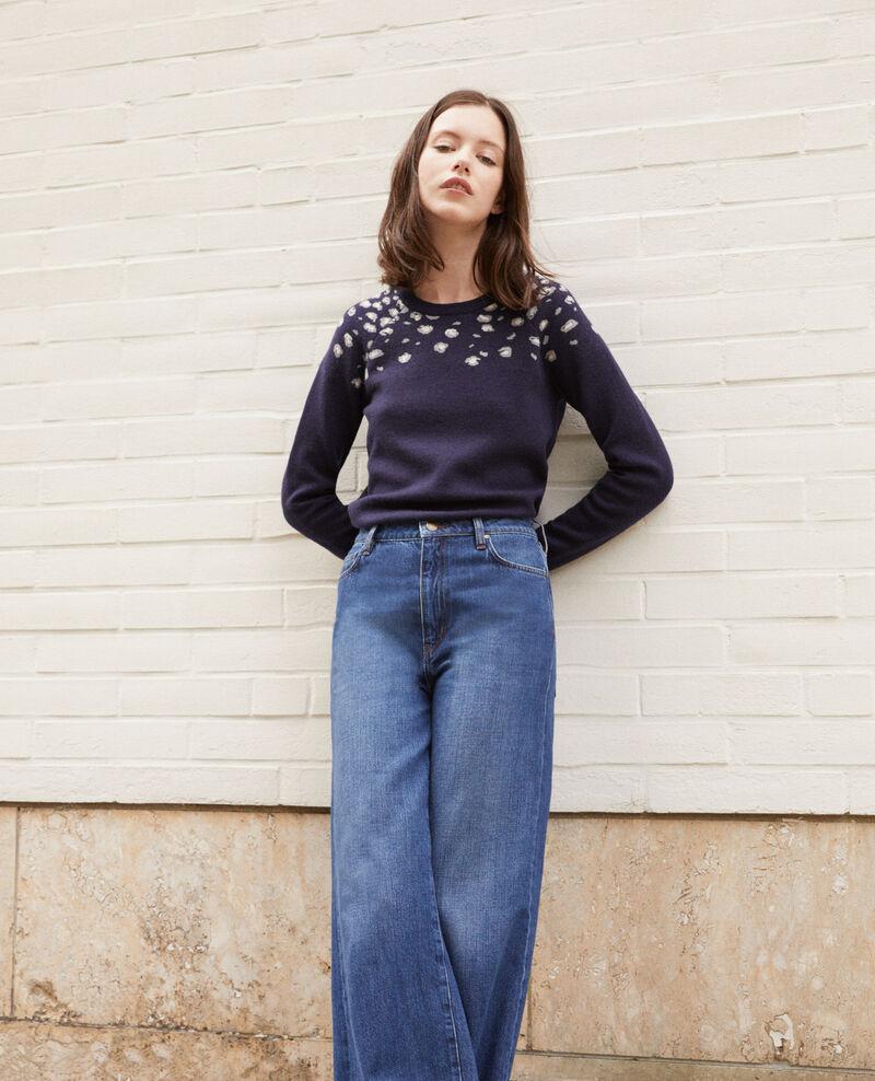Pullover mit Druck Blau Gleopard