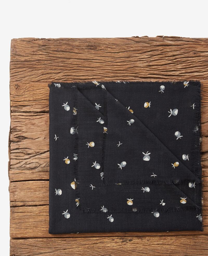 Gemusterter Schal aus 100 % Wolle Pinecones dark navy Dalexia