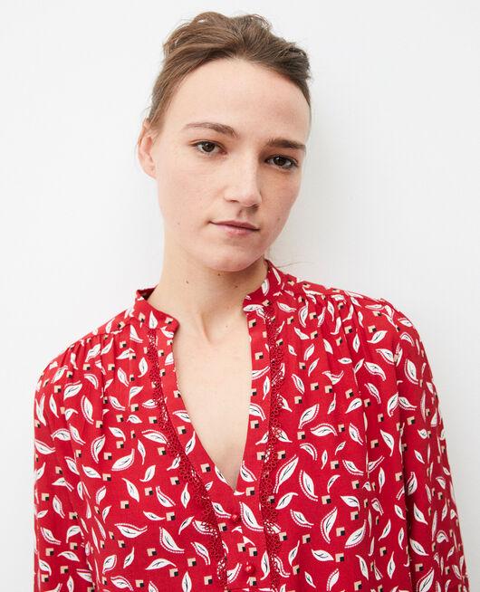 Bluse mit tunesischem Kragen EARTH RED