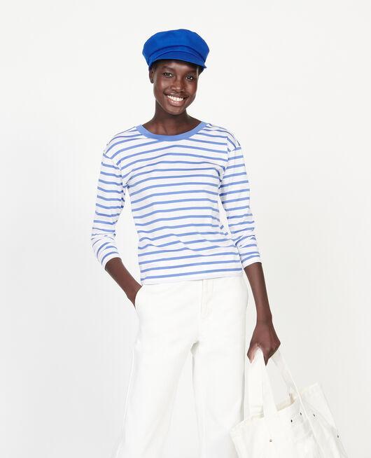 T-Shirt aus ägyptischer Baumwolle STRIPES OPTICAL WHITE AMPARO BLUE