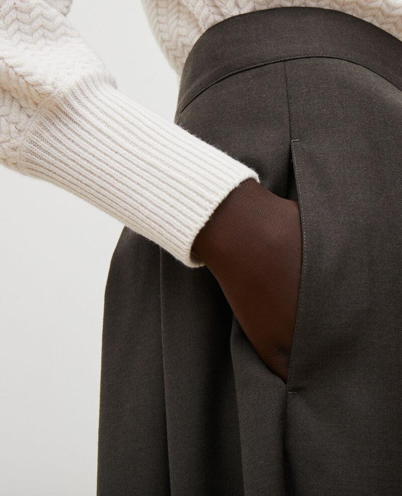 Hosenrock mit Falten aus Wolle und Kaschmir Kaki Marby