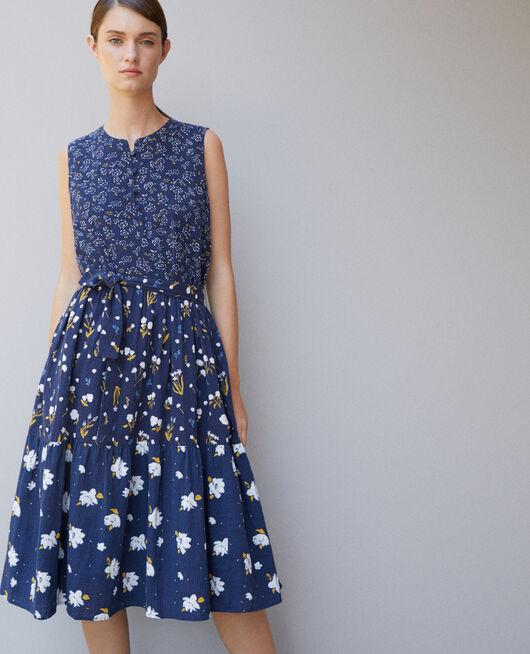 Gemustertes Kleid Blau