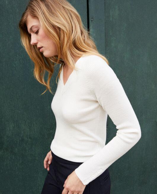 Pullover mit V-Ausschnitt 100% Merinowolle OFF WHITE