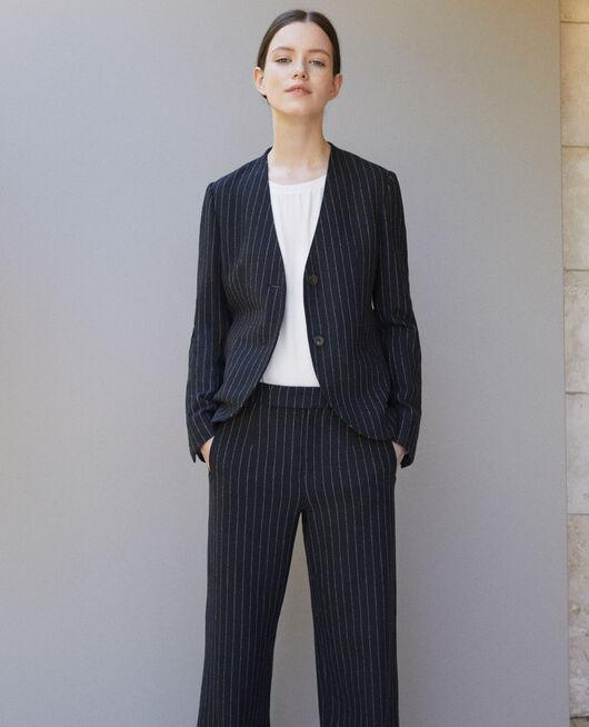 Tailoring-Jacke ohne Kragen Blau