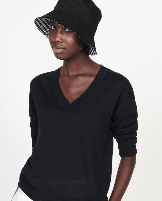 Pullover mit V-Ausschnitt aus Leinen und Baumwolle BLACK BEAUTY