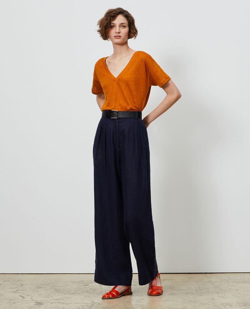Shirt mit V-Ausschnitt aus Leinen Pumpkin spice Locmelar