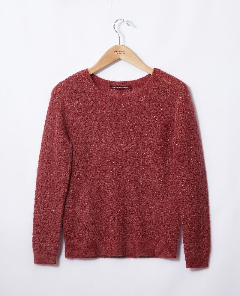 Pullover mit Mohair und Lurex Earth red Gigogne