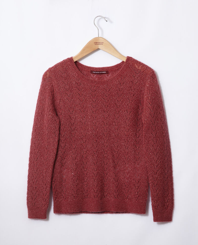 Pullover mit Mohair und Lurex Earth red Gigogne
