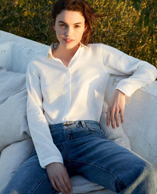 Bluse aus Leinen OFF WHITE
