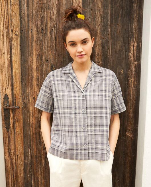 Bluse mit offenem Kragen aus Baumwolle OFF WHITE/NAVY