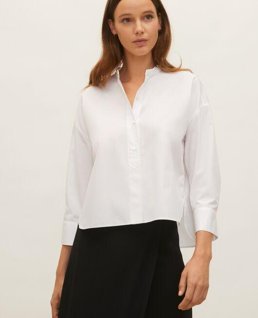 Bluse ohne Kragen aus Baumwoll-Popelin OPTICAL WHITE