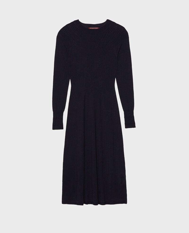 Ausgestelltes Kleid aus Merinowolle mit Rundhalsausschnitt Night sky Malouy