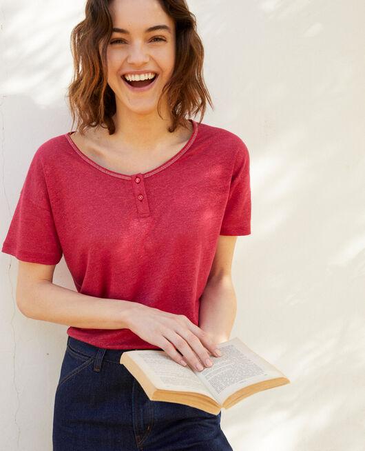 T-shirt effet brillant en lin FUSHIA