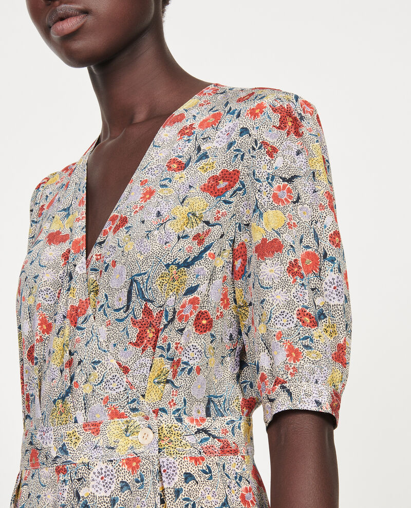 Kurzes Wickelkleid aus Seide mit Flowerprint Print eden cream Meanie