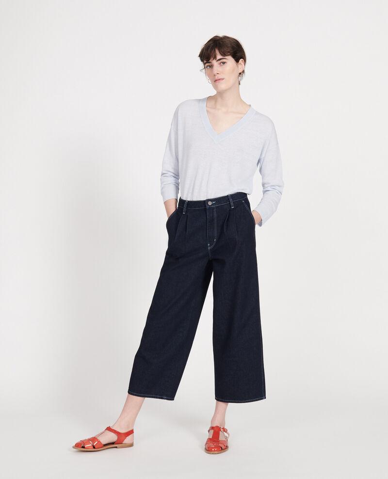 Pullover mit V-Ausschnitt aus Leinen und Baumwolle Heather Leonotis