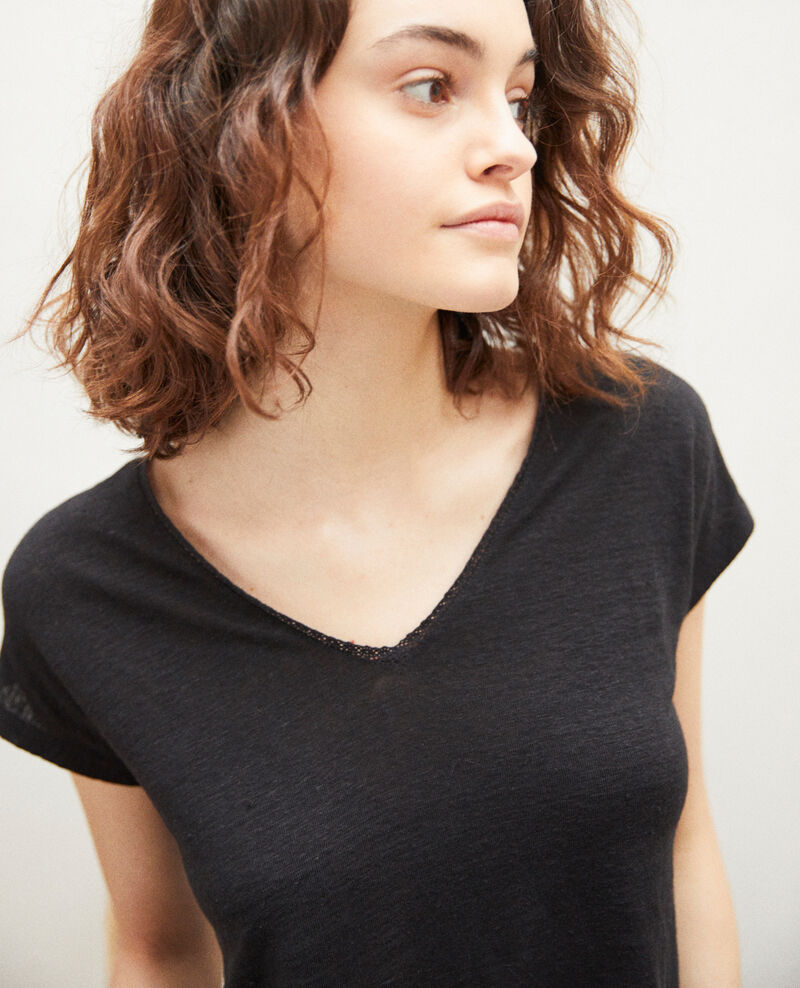 T-Shirt mit Spitze Noir Itlanta
