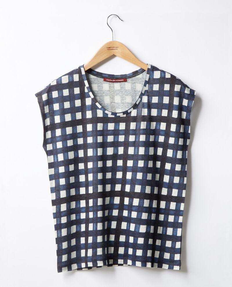 Bedrucktes T-Shirt aus Leinen Ghingham big marine Fengshui
