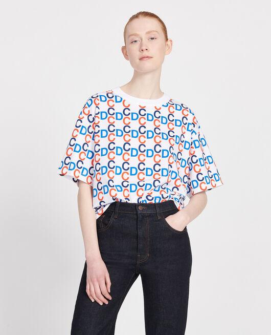 T-Shirt mit CDC-Print aus Baumwolle OPTICAL WHITE