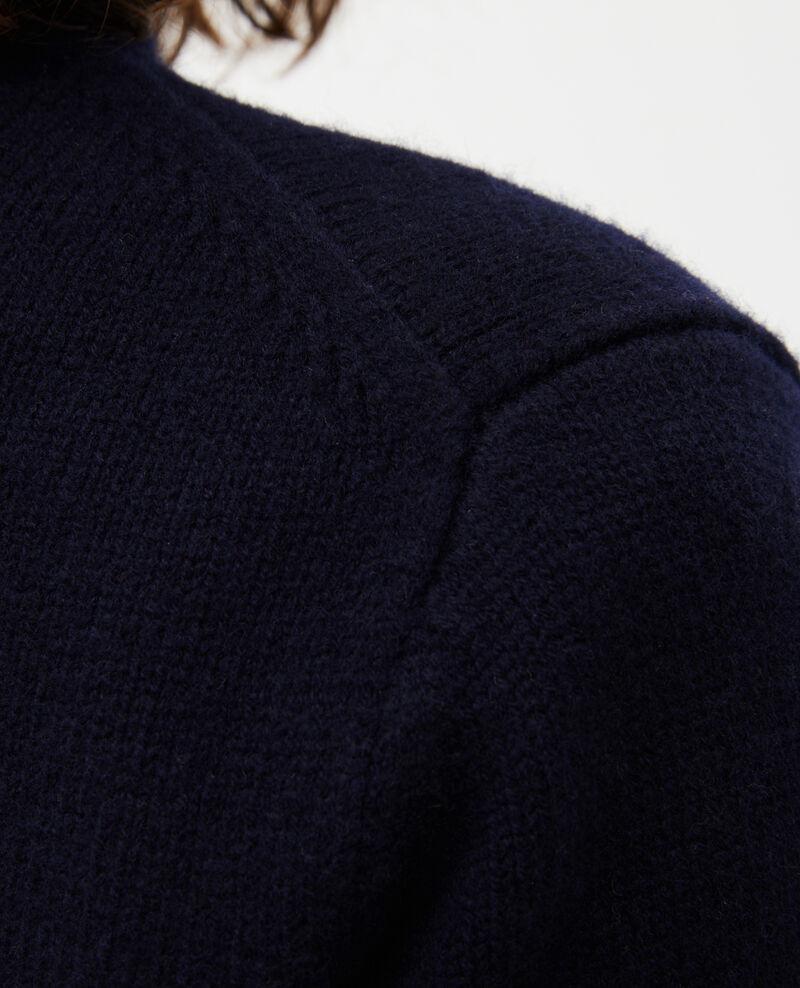Wollpullover mit Stehkragen und breitem Rippstrick Night sky Marques