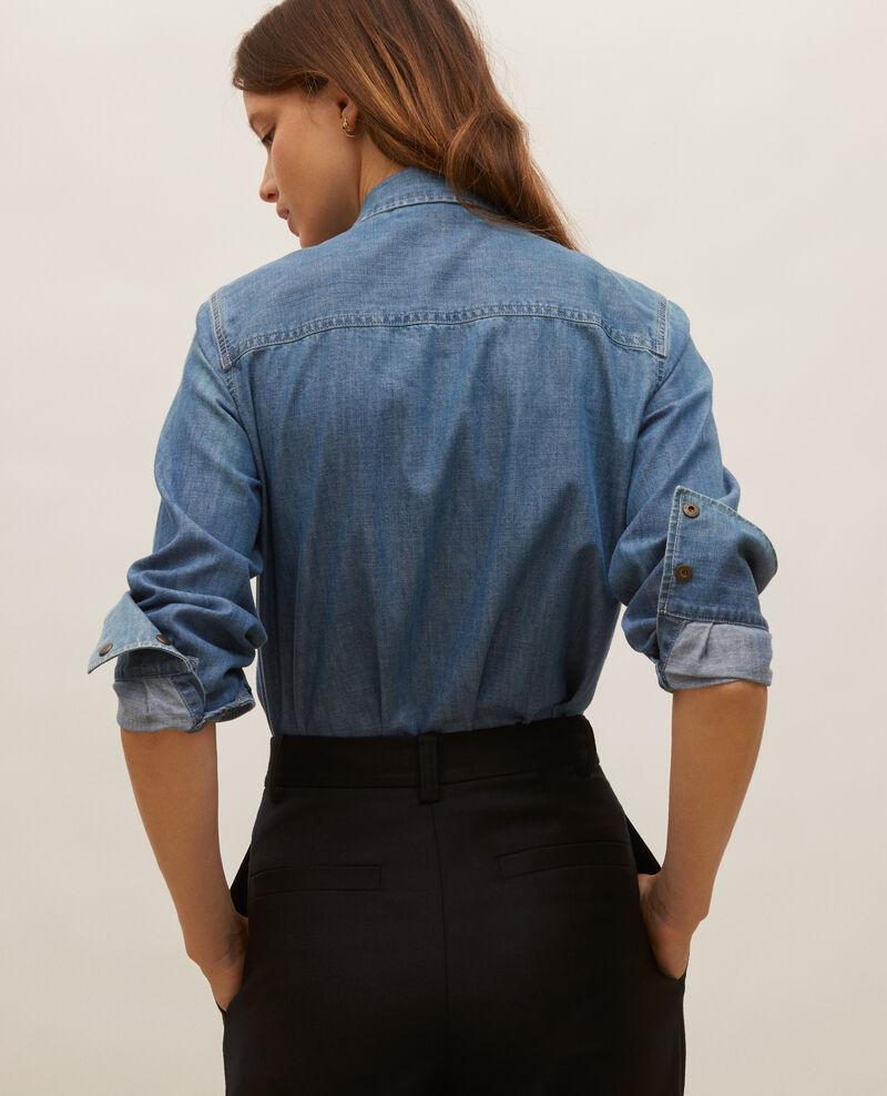 Jeanshemd mit asymmetrischen Taschen Denim blue Ladigna