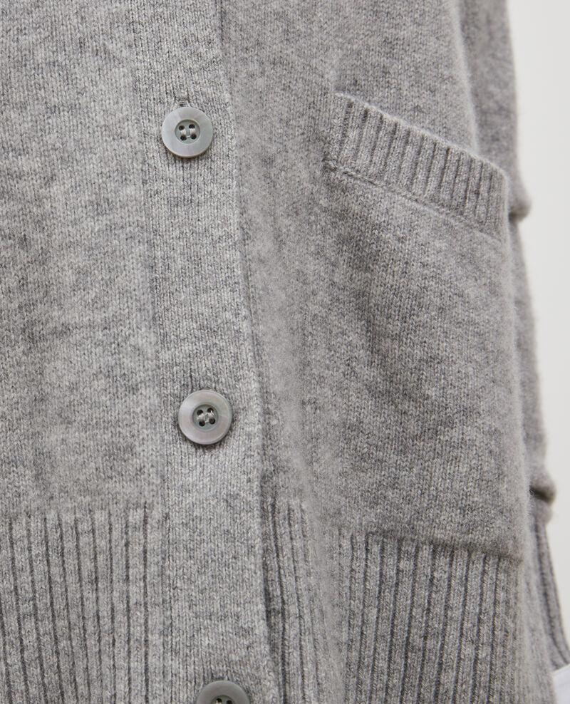 Cardigan aus Kaschmir mit V-Ausschnitt und Seitenschlitz Light grey melange Moleano