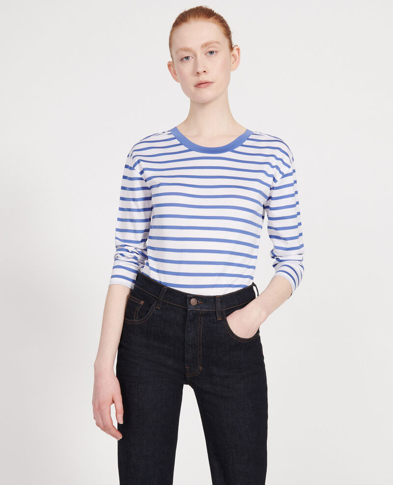 T-Shirt aus Baumwolle Stripes optical white amparo blue Lana